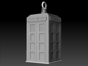 TARDIS earring, rendered view.