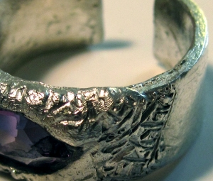 Silver and Amethyst Ring detail