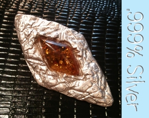 Silver and Amber Pendant 1