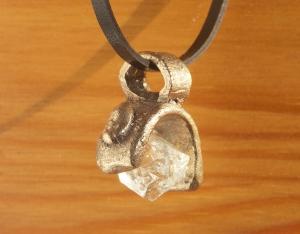 Bronze and Herkimer Diamond Pendant