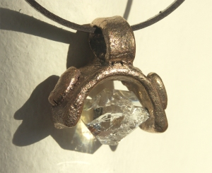 Bronze and Herkimer Diamond Pendant