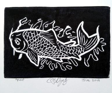 Koi Fish Linocut Print