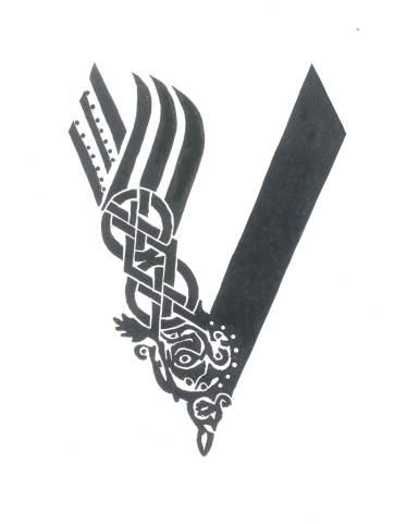 Vikings linocut print